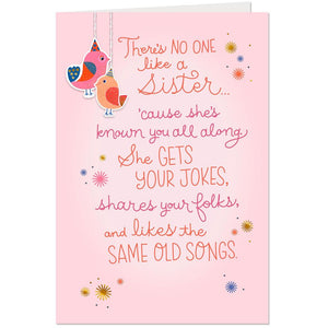 Sister - No One Like a Sister Poem Birthday Card
