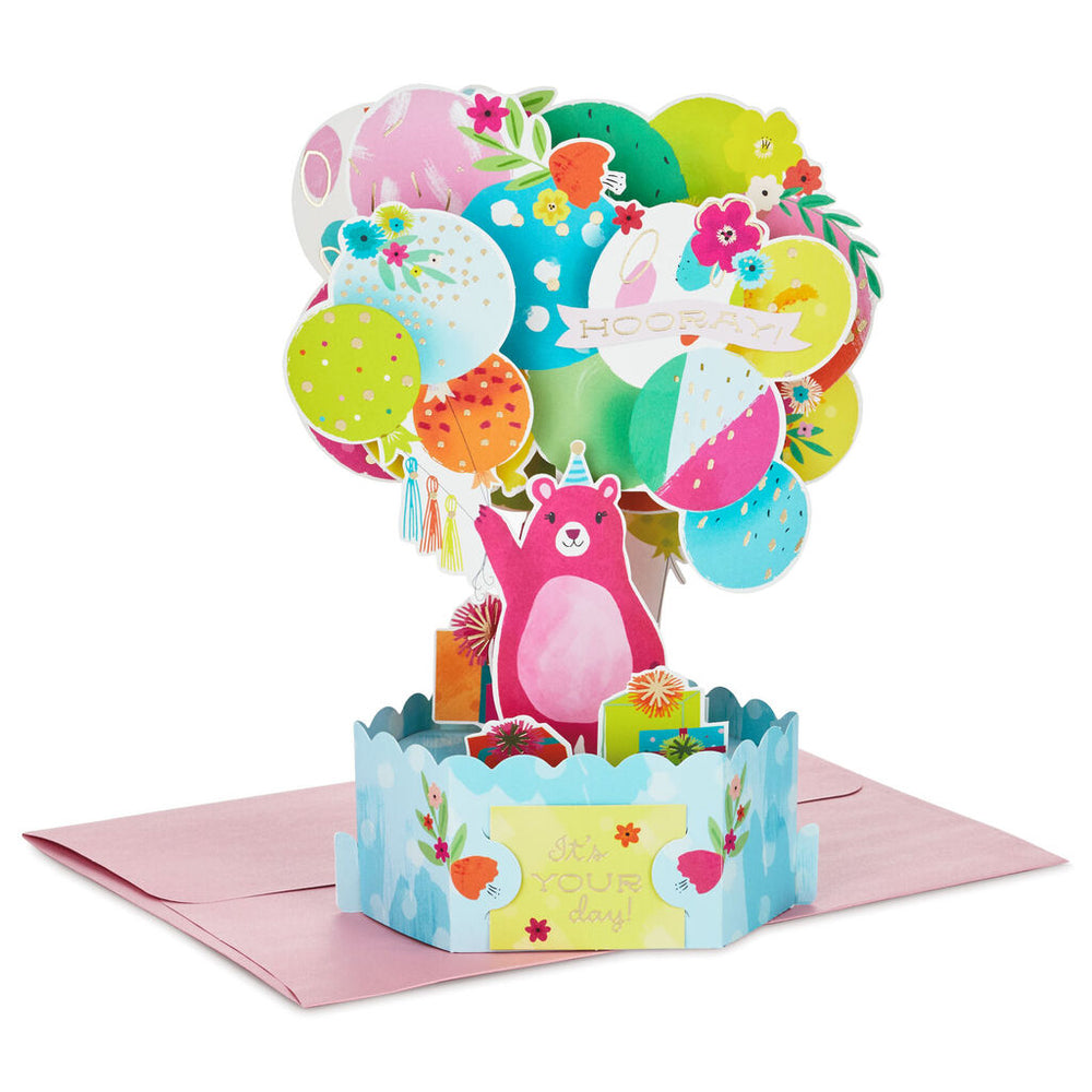 Bear With Balloons 3D Pop-Up Birthday Card