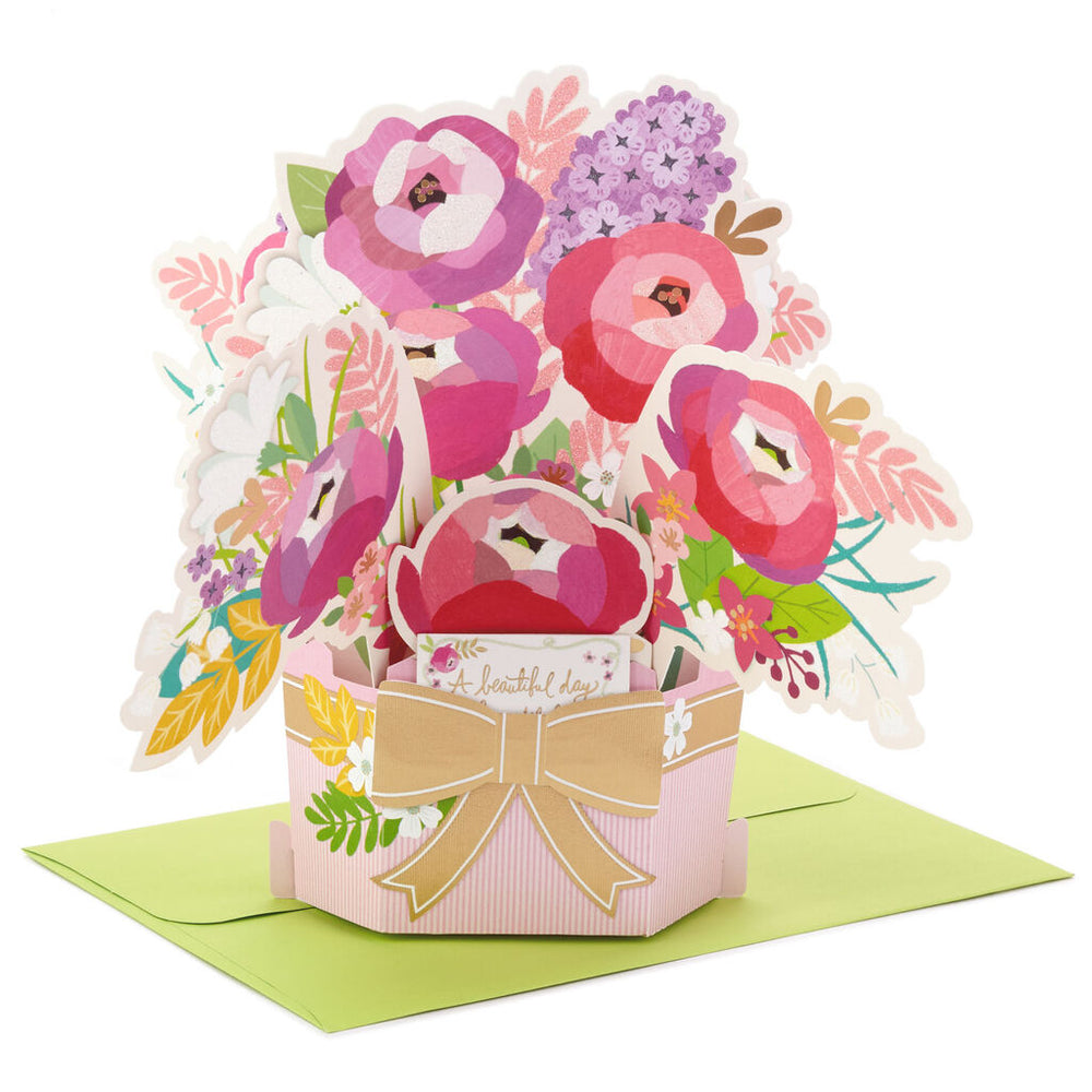Beautiful Day Flower Bouquet 3D Pop-Up Birthday Card