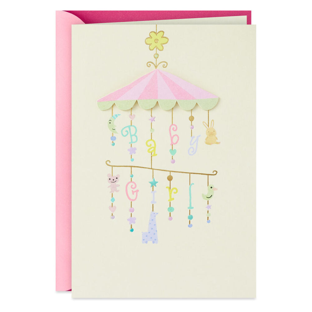 Baby Girl Mobile New Baby Card