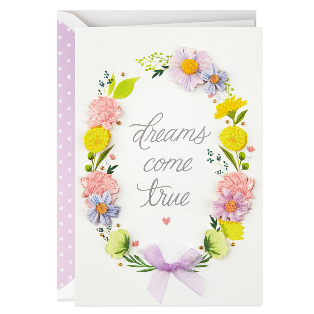 Dreams Come True Floral Wreath Congratulations Card