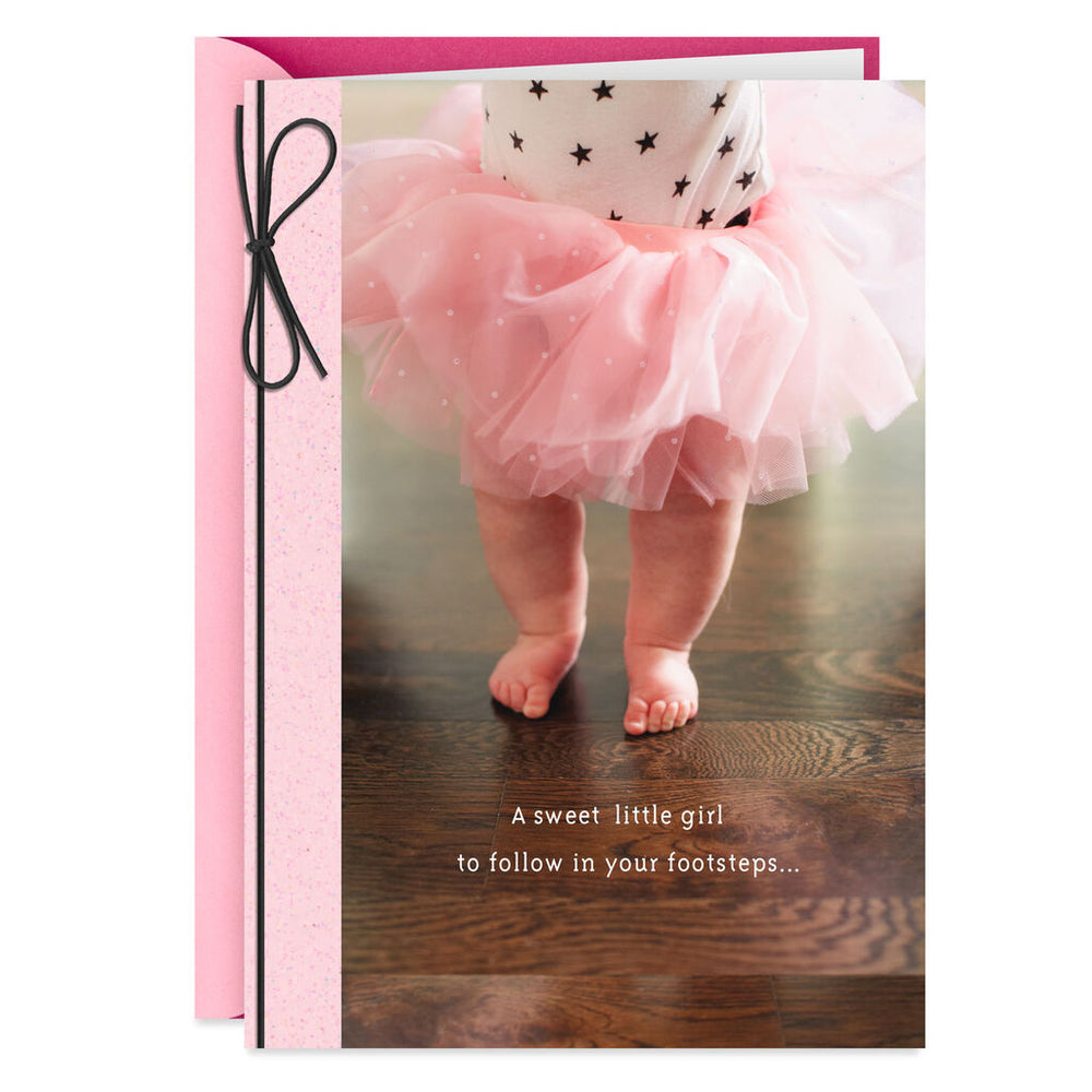 Following in Your Footsteps New Baby Girl Card