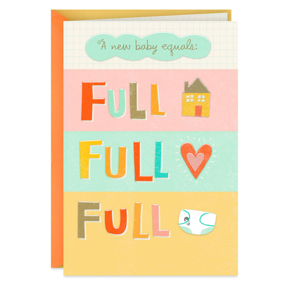 Full House, Full Heart New Baby Congratulations Card