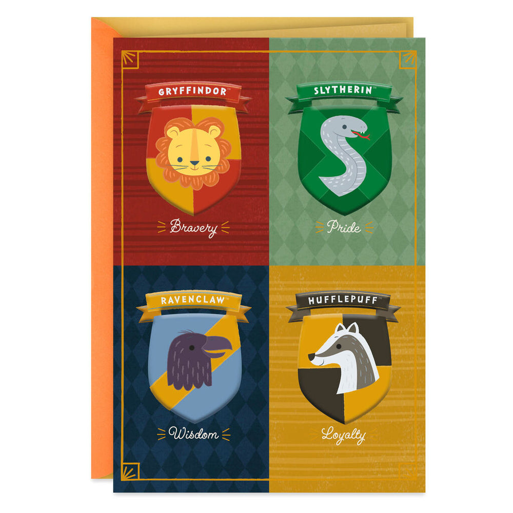Harry Potter Hogwarts House Crests New Baby Card