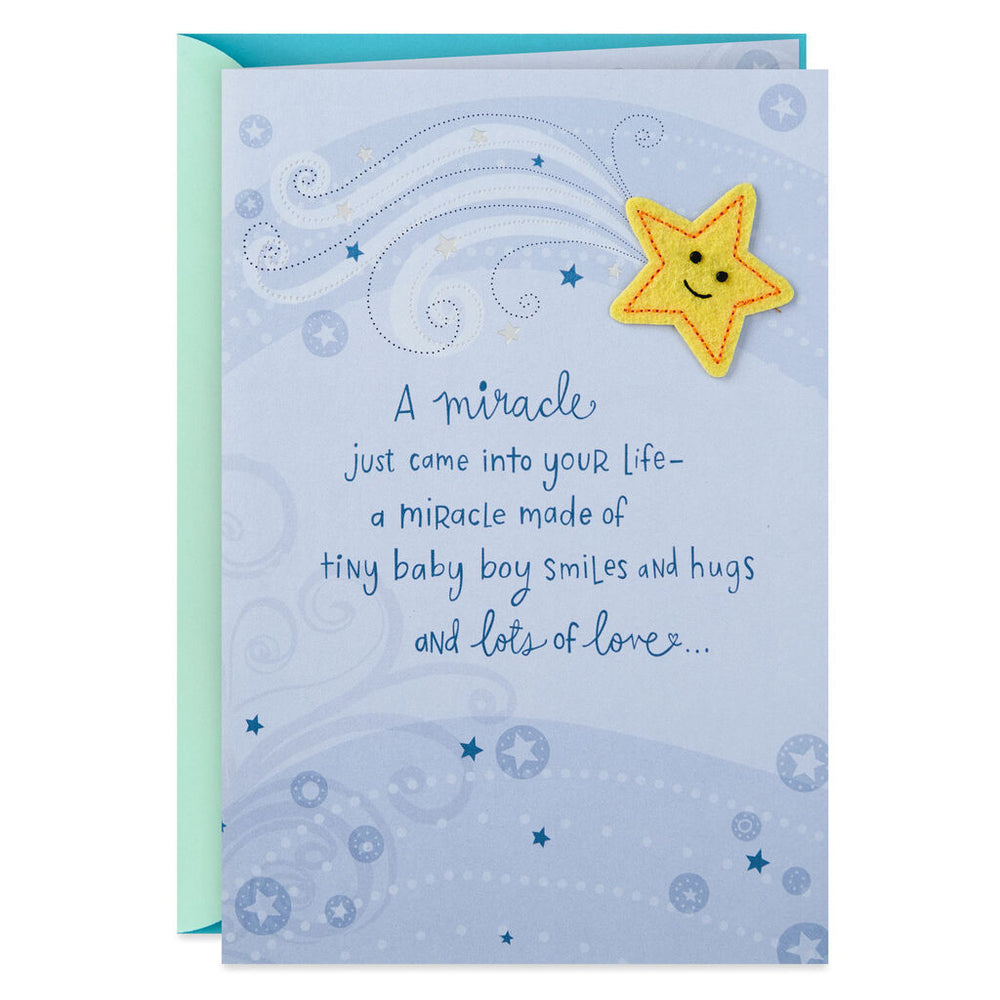 Load image into Gallery viewer, A Miracle Came Into Your Life New Baby Boy Card
