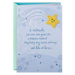 A Miracle Came Into Your Life New Baby Boy Card