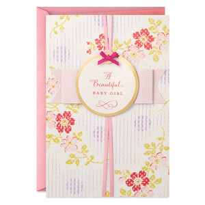 Pink Flowers New Baby Girl Card