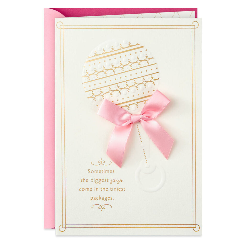 Shower of Wishes Pink Baby Rattle Baby Shower Card