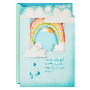 Sparkly Rainbow Behind Clouds New Baby Boy Card