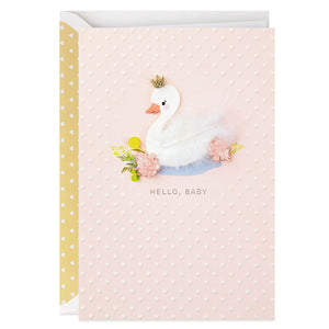White Swan With Crown New Baby Congratulations Card