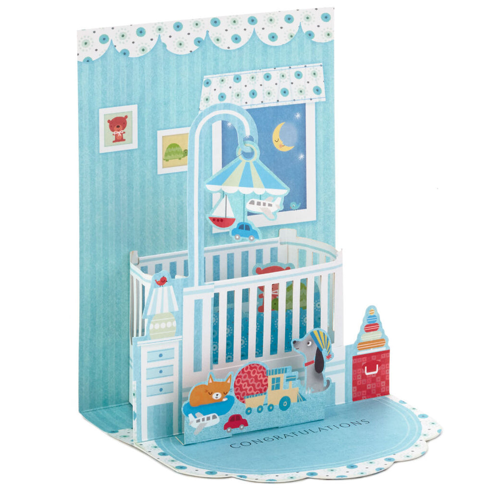 Sweetest Dreams Pop Up New Baby Boy Card
