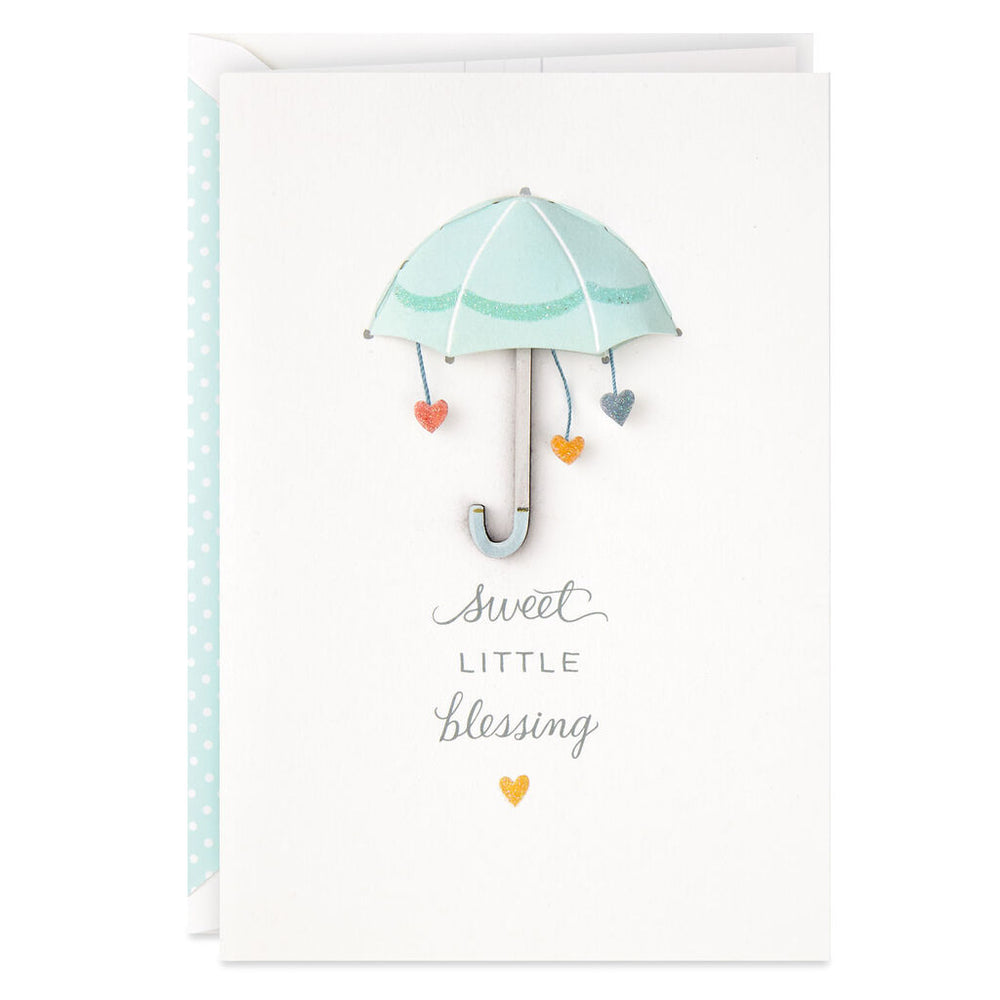 Umbrella Sweet Little Blessing Baby Shower Card