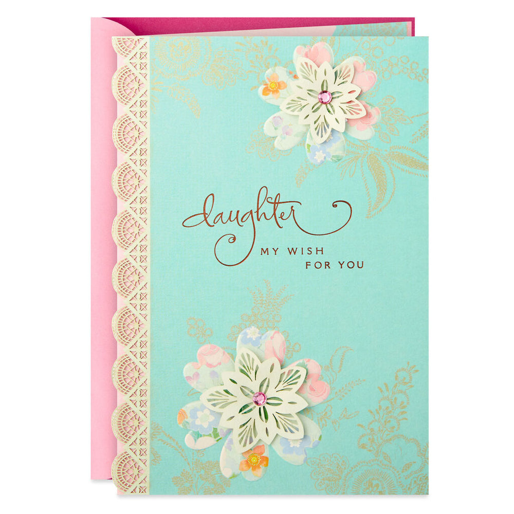 Daughter - Lace Flowers Birthday Card