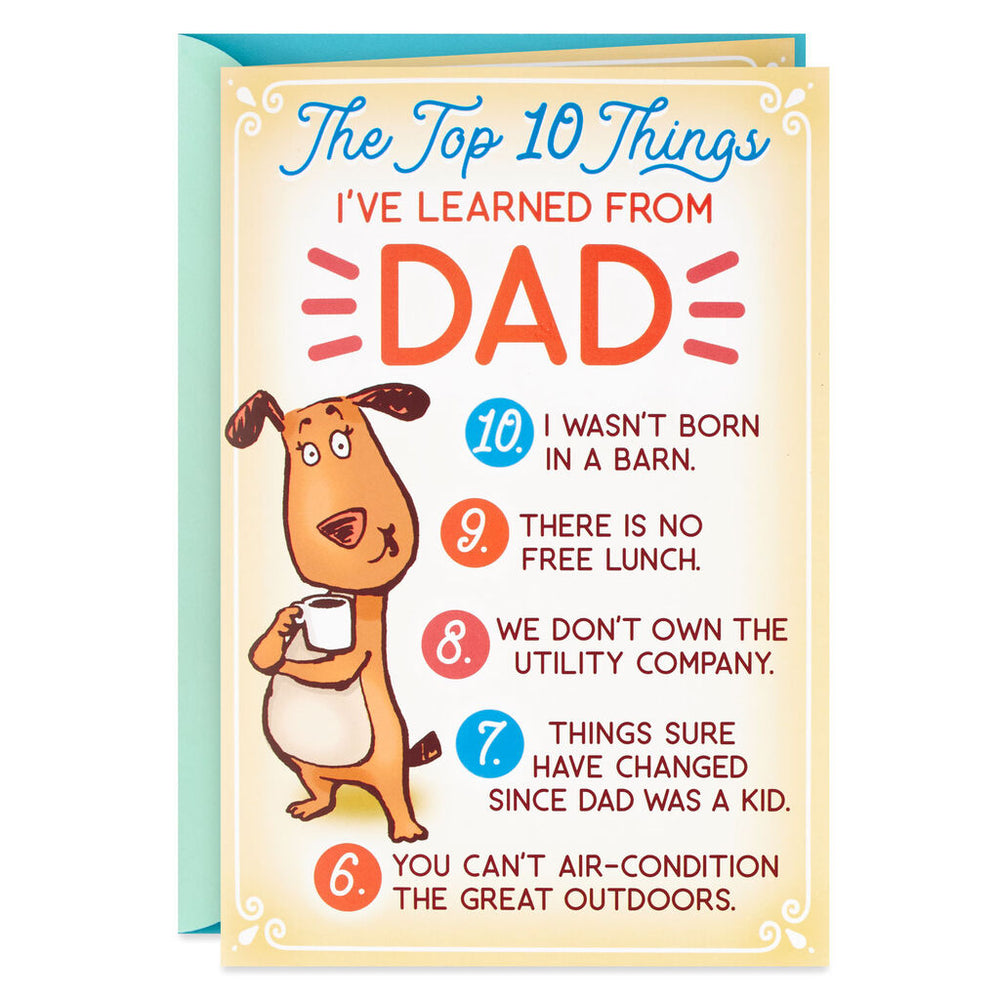 Dad - Funny Top 10 Birthday Card for Dad With Button Pin