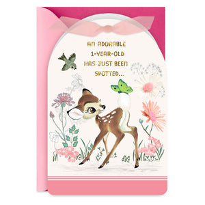 Load image into Gallery viewer, Disney Bambi Pink 1st Birthday Card