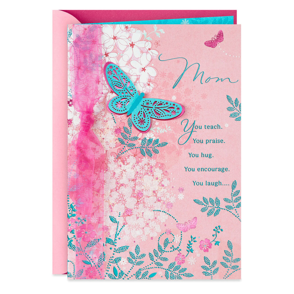 Mom - Thankful for You Butterfly Birthday Card