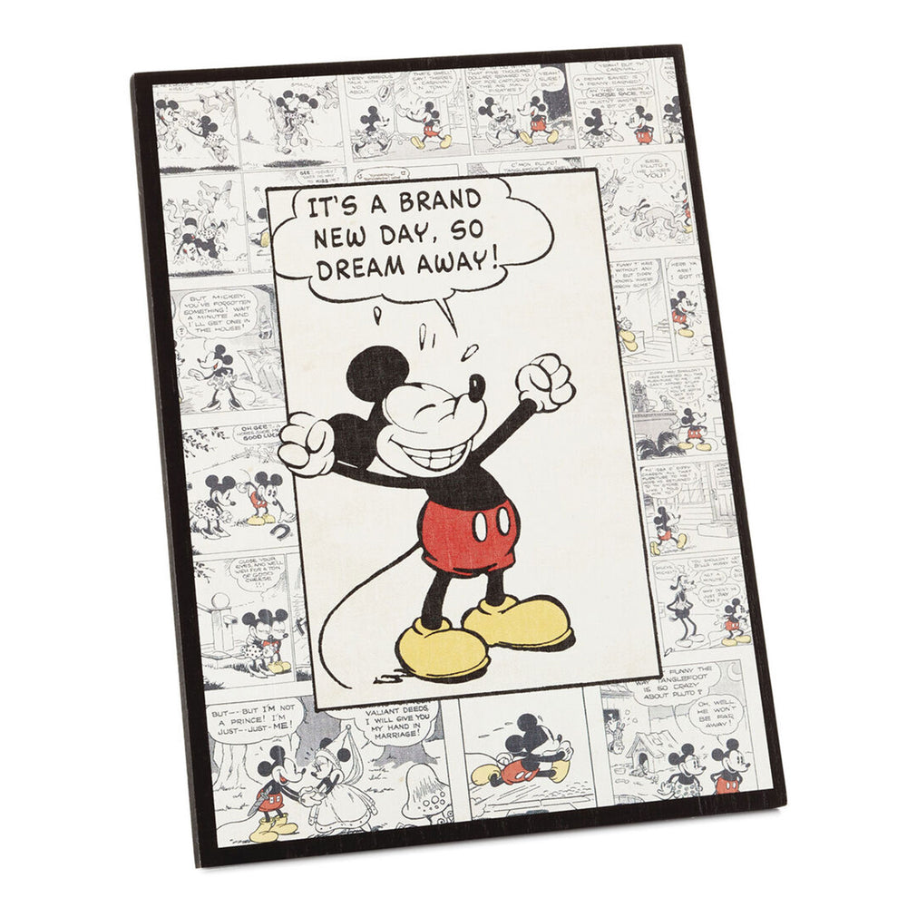 Disney Mickey Mouse New Day Comic Strip Wood Quote Sign, 8.8x11.8