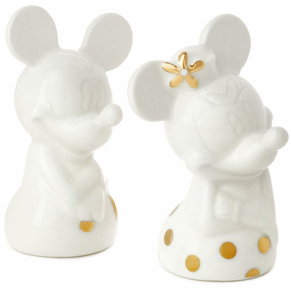Disney Mickey and Minnie White and Gold Salt and Pepper Shakers, Set of 2