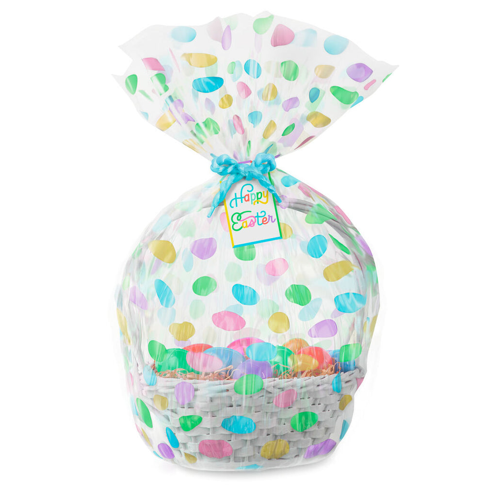 "Load image into Gallery viewer, 28"" Cellophane Easter Basket Gift Bag With Tag and Tie"