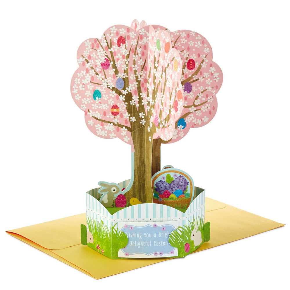 Easter Egg Tree and Easter Basket Pop Up Easter Card