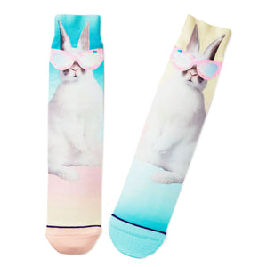 Bunny in Sunglasses Toe of a Kind Novelty Easter Socks