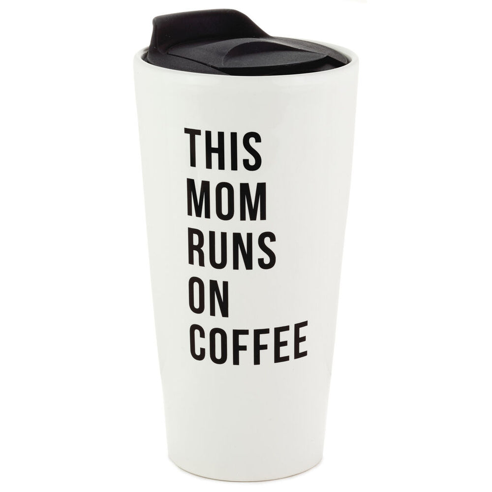 This Mom Runs on Coffee Travel Mug, 10 oz.
