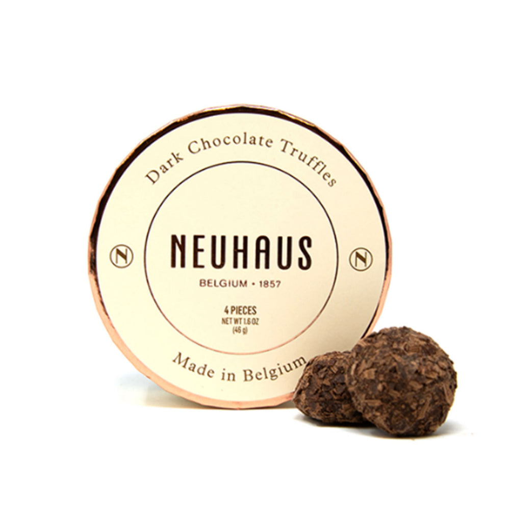 Neuhaus Belgian Dark Chocolate Truffles in Round Box, 4 pieces