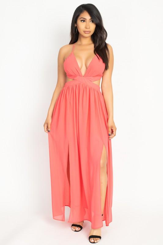 High Slit Chiffon Maxi Dress