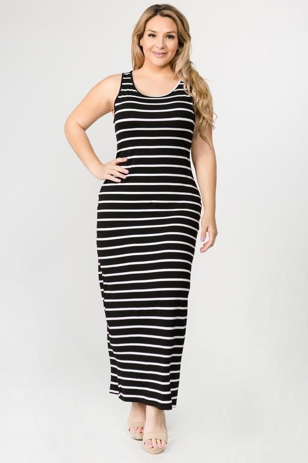 Striped Plus Size Maxi Dress