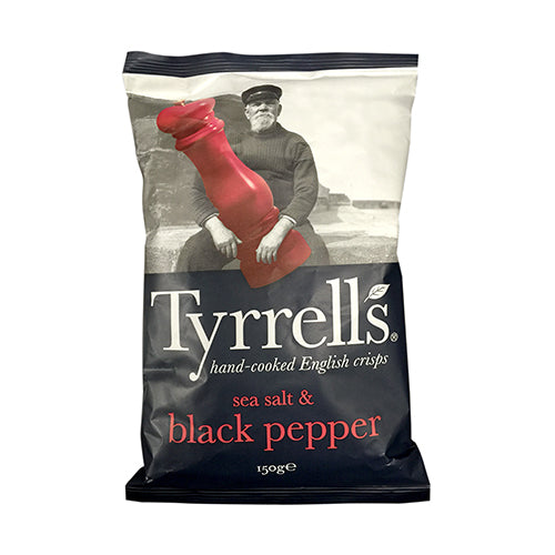 Tyrrells Sea Salt and Black Pepper Potato Chips 150g