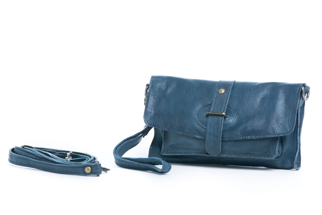 Rugged Hide Amelia Soft Leather Wallet/Clutch - Midnight Blue