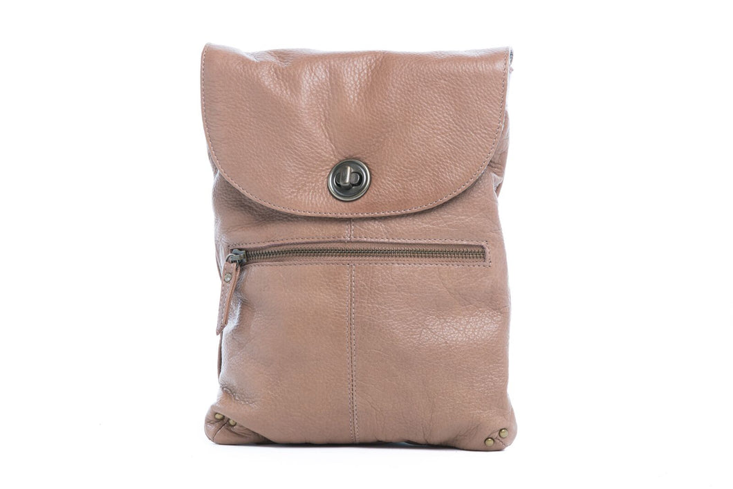 Rugged Hide Tayla Leather Sling Bag - Mushroom
