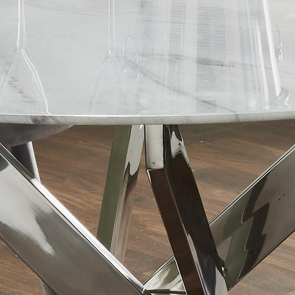 Dining Table - Silver Plated Marble Glass Round Dining Table