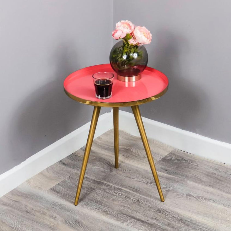 Side Table Coral Enamel Tray - The Decor Brand