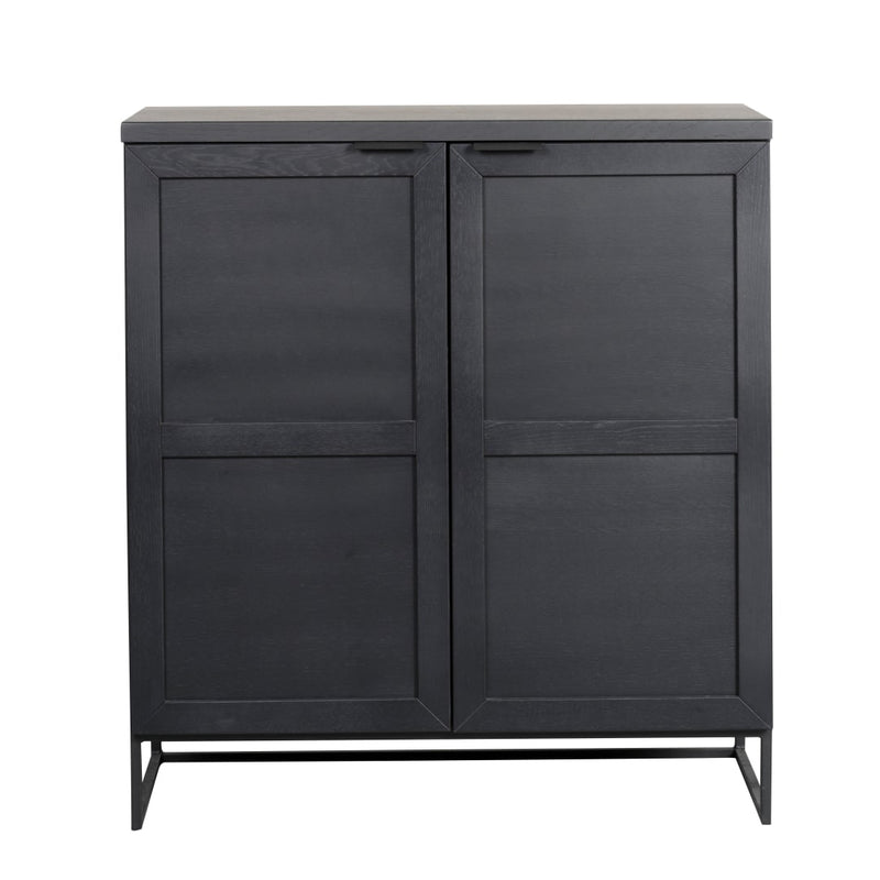 Callait Oak And Metal Low 2 Door Cabinet in Black - The Decor Brand
