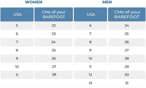 waterproof shoes size chart