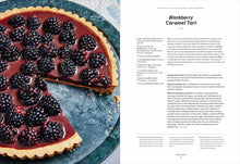 Load image into Gallery viewer, A page spread from the Dessert Person cookbook showing a photo and recipe for Blackberry Caramel Tart