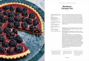 A page spread from the Dessert Person cookbook showing a photo and recipe for Blackberry Caramel Tart