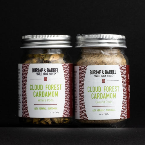 2 Jars of Burlap & Barrel Cloud Forest Cardamom, one with whole pods, one ground