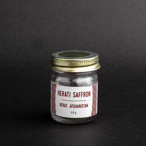 Burlap & Barrel Herati Saffron in glass jar