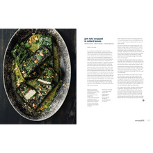 Load image into Gallery viewer, Jerk tofu wrapped in collard Greens page spread from Vegetable Kingdom cookbook