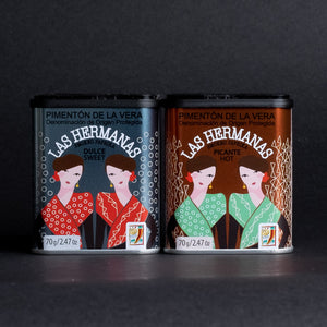 2 Las Hermanas Pimenton De La tins - one sweet, one spicy