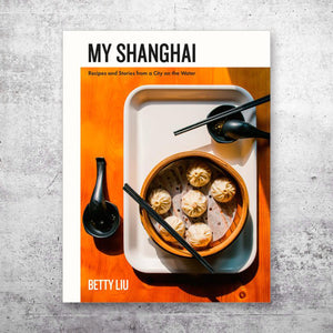 My Shanghai cookbook cover over grey background