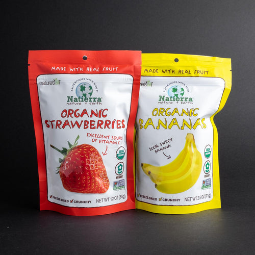 Bags of Natierra Freeze-Dried Strawberries and Bananas