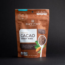 Load image into Gallery viewer, Navitas Organic Cacao Sweet Nibs in stand up pouch