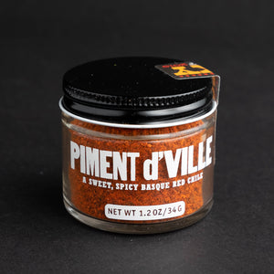 Piment d'Ville Smoky Basque Style Chile in jar with black lid