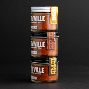 Piment d'Ville trio of jars stacked