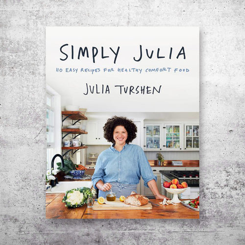 Simply Julia cookbook cover on top of grey concrete background