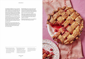 A page spread from the Dessert Person cookbook showing the final steps of a recipe and photo of Sour Cherry Pie