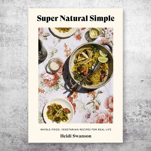 Super Natural Simple cookbook cover on top of grey background